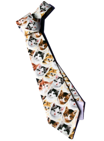 Tiny Kitten Cat Faces Print Necktie