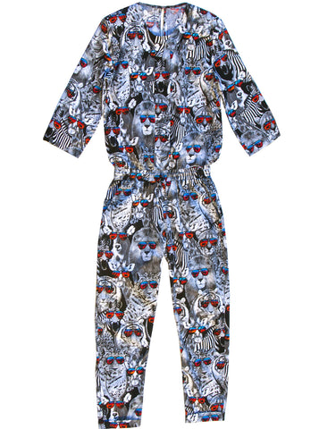 Cool Safari Animals Cotton Jumpsuit