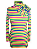 Neon Stripe Turtleneck Top - IDILVICE Clothing - 1