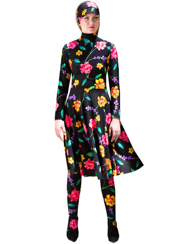 Dark Floral Knit Knee Length Long Sleeve Skater Dress & Tights Set