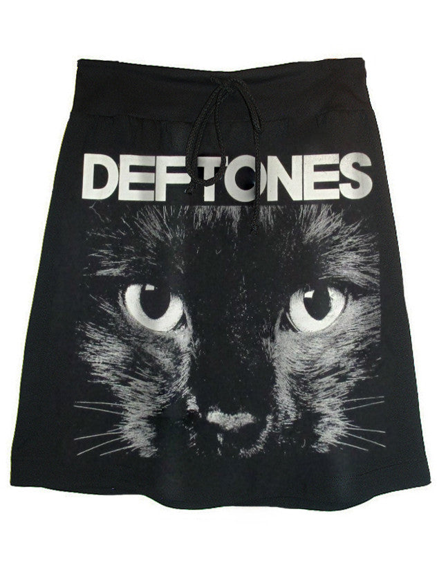 Deftones Alternative Metal Cat Print Sweat Skirt - IDILVICE Clothing