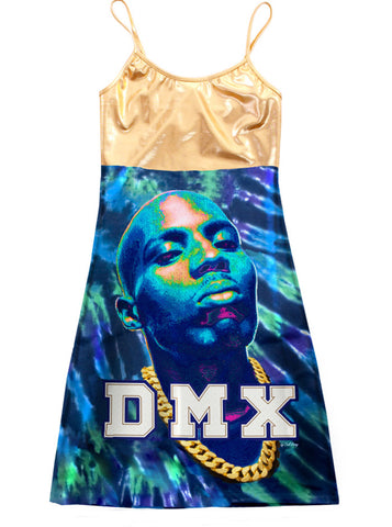 Gold DMX Tie Dye Print Mini Strap Dress