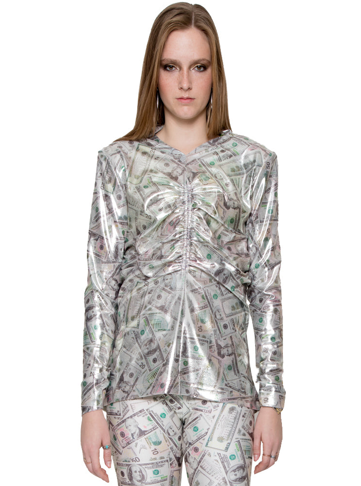 Dollar Bill Metallic Gold Foil Printed Ruched Long Sleeve Top