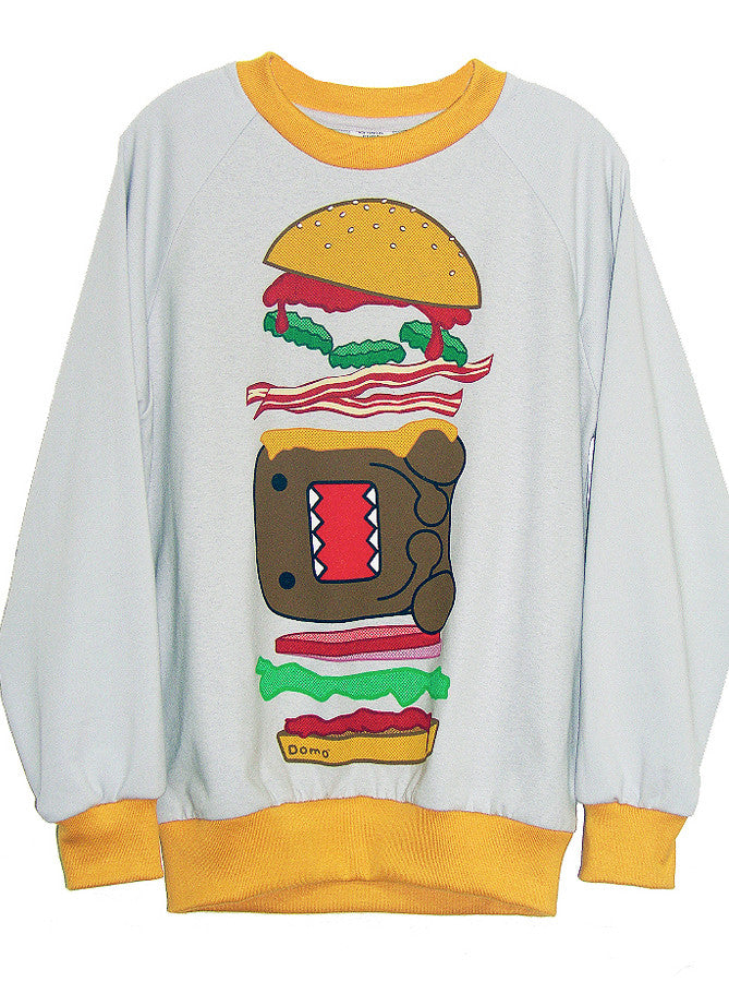 Domo Burger Print Two Tone Sweatshirt - IDILVICE Clothing