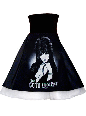 Elvira Goth Mother Photo Black Satin High Waist Corsage Petticoat Skirt
