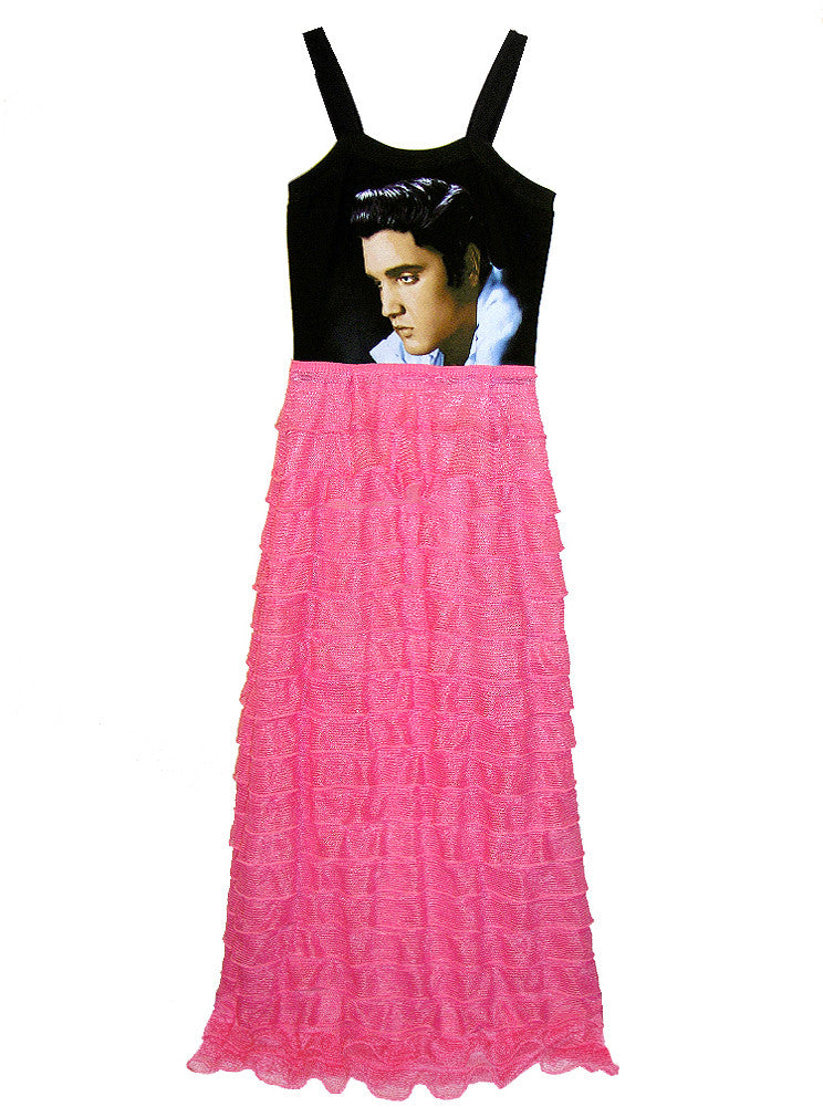 Elvis Presley 1950s Ruffle Maxi Dress Gown - IDILVICE Clothing - 1