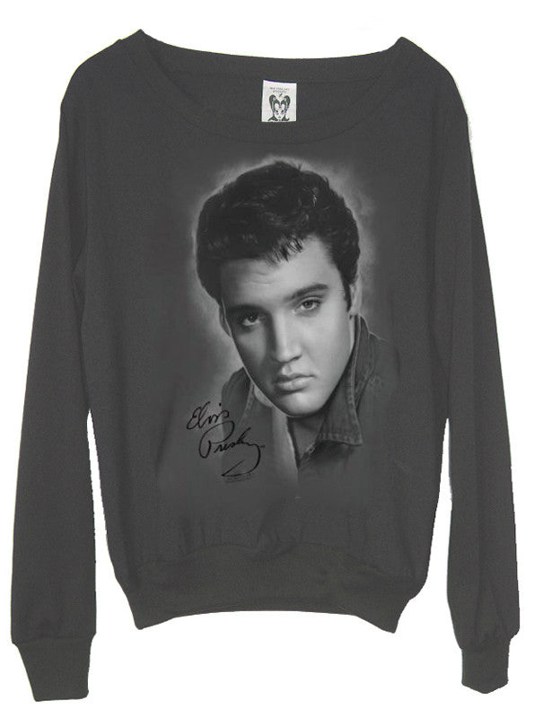 Elvis Presley Classic Charcoal Slouchy Jumper - IDILVICE Clothing - 1