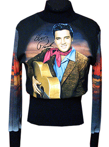 Elvis Cowboy Prairie Sunset Turtleneck Sweater