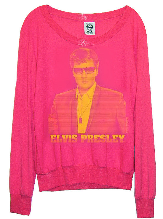 Elvis Presley Disco Pink Retro Portrait Slouchy Sweater L/S T-Shirt - IDILVICE Clothing