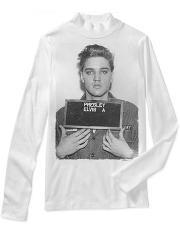 Elvis Presley Teenager Mug Shot Mock Neck Sweater