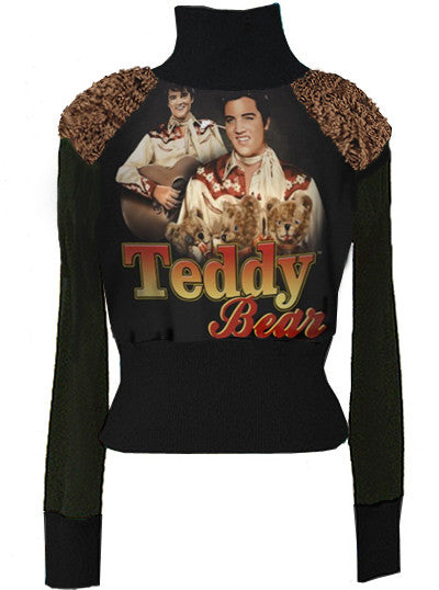 Elvis Presley Teddy Bear Minky Fur Accents Turtleneck Sweater - IDILVICE Clothing