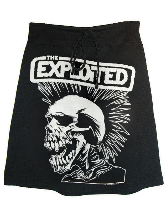 The Exploited Mohawk Skull Print Punk T-Shirt Skirt - IDILVICE Clothing