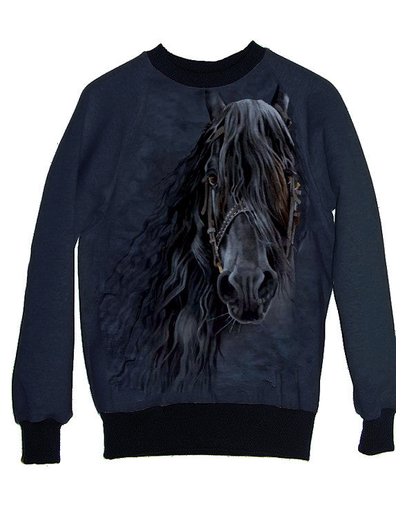 Friesian Horse Photo Print Sweatshirt - IDILVICE Clothing