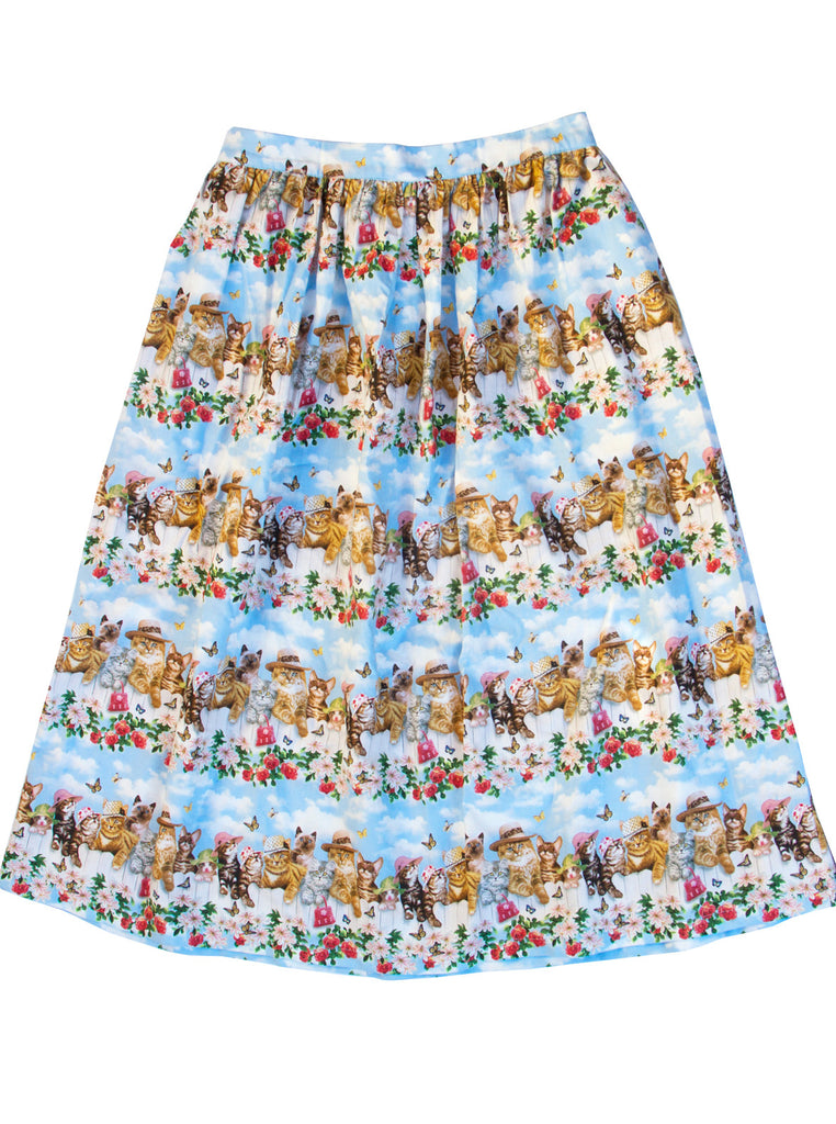 Flower Garden Fence Kittens Gathered Skirt - IDILVICE Clothing - 1