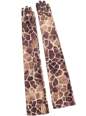 Giraffe Animal Print Opera Length Gloves
