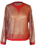 Metallic Printed Mesh Crew Neck Jumper - IDILVICE Clothing - 1