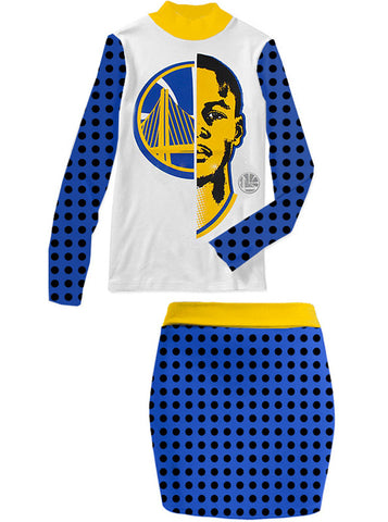 Golden State Warriors Steph Curry Mock Neck Top Skirt Set