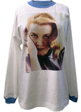 grace kelly princess of monaco photo portrait silk screen print on a retro 1990s white loose fit mock neck sweater top in 100% cotton