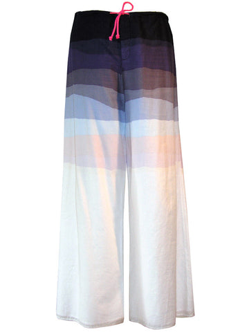 Gradient Print Double Layer Sheer Cotton Drawstring Pants