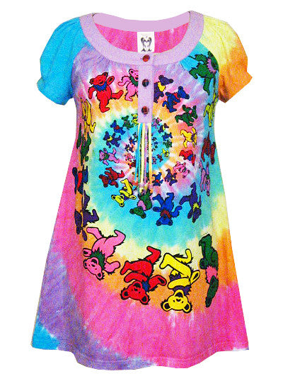 Grateful Dead Spiral Bears Psychedelic Tunic Dress - IDILVICE Clothing - 1