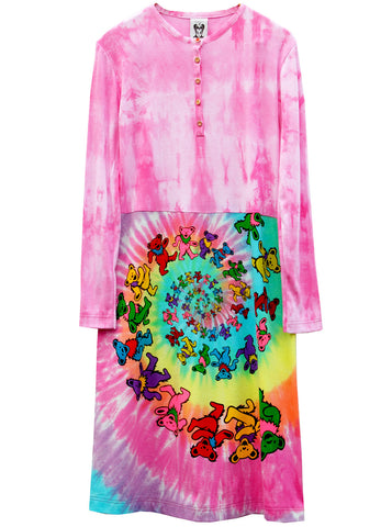 Grateful Dead Bear Spiral Tie Dye Long Sleeve Dress