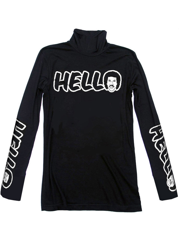 Hello Lionel Richie Mock Neck Sweater