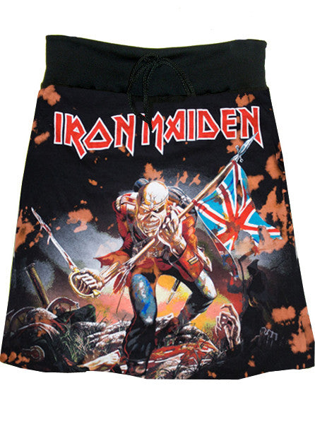 Iron Maiden Trooper Heavy Metal Bleached Screen Print T-Shirt Skirt