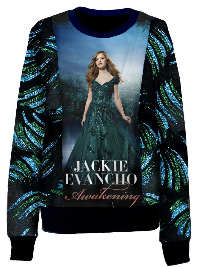 Angelic Jackie Evancho Misty Forest Glitter Velvet Crew Neck Sweater