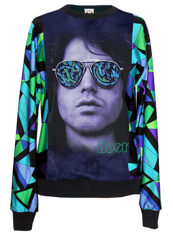 Jim Morrison Psychedelic Specs Pucci Pattern Sweater Top