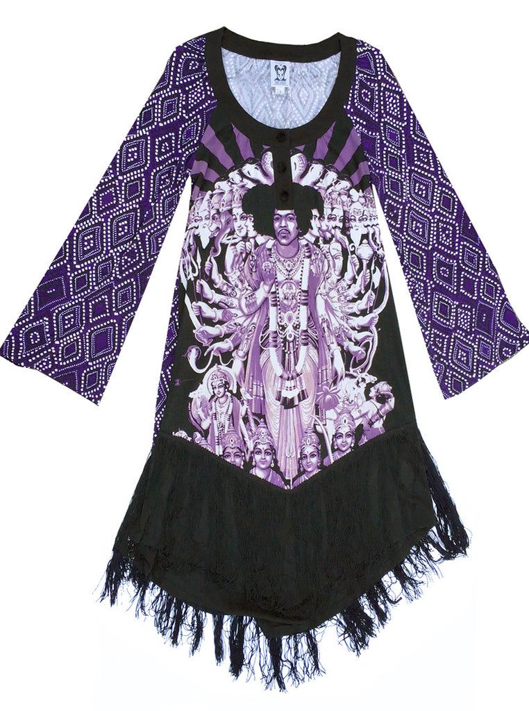 Jimi Hendrix Bold As Love Fringe Kaftan Dress - IDILVICE Clothing - 1