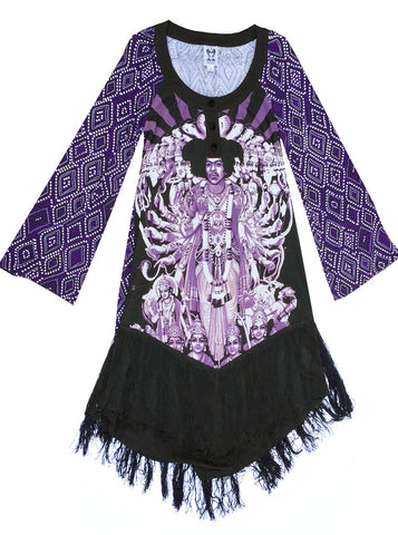 Jimi Hendrix Bold As Love Fringe Kaftan Dress
