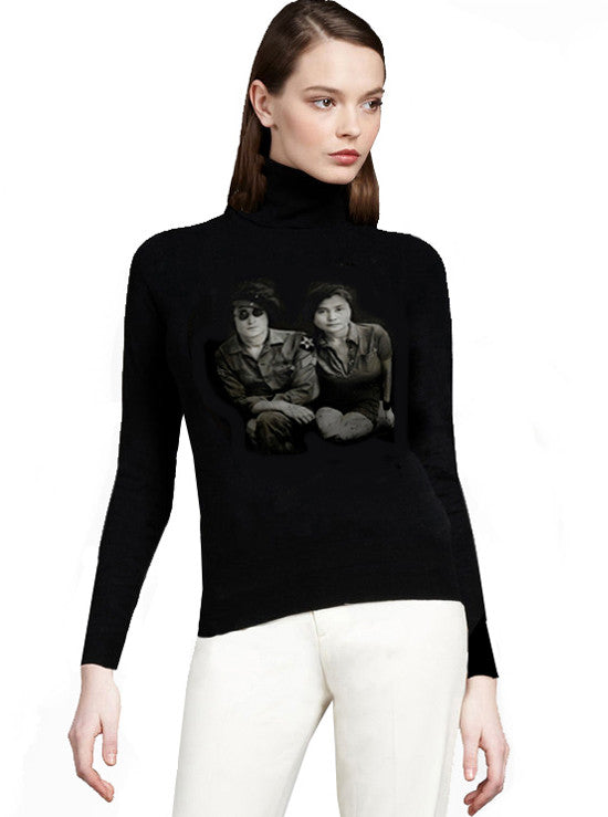 John Lennon Yoko Ono Black Turtleneck Sweater - IDILVICE Clothing