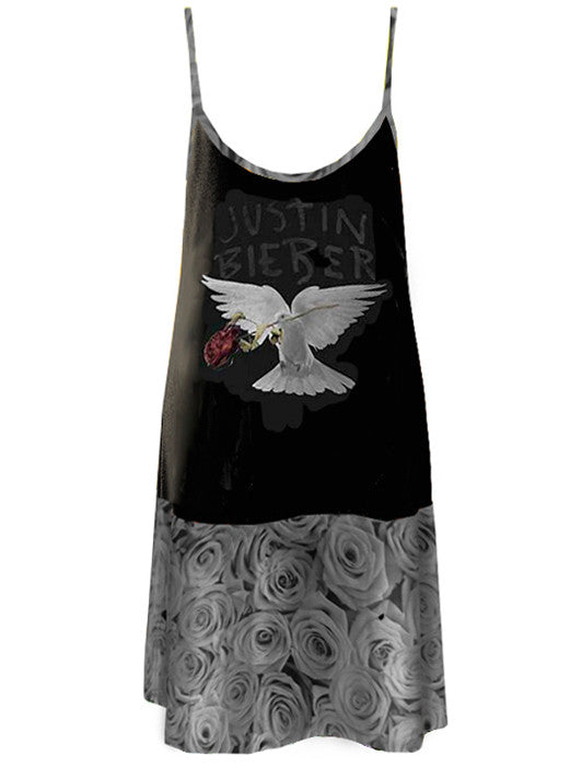 Justin Bieber Dove Grey Roses Panel Strap Dress - IDILVICE Clothing - 2