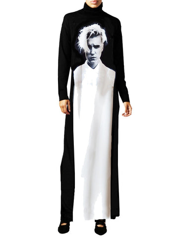 Purpose Tour Bieber Photo Graphic Panel Maxi Mock Neck Dress