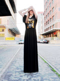 Kid Rock Skull Gold Foil Print Off Shoulder Goddess Maxi Dress Gown - IDILVICE Clothing - 2