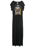 Kid Rock Skull Gold Foil Print Off Shoulder Goddess Maxi Dress Gown - IDILVICE Clothing - 1