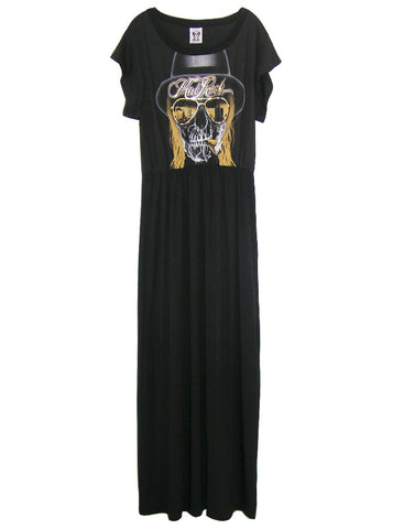 Kid Rock Skull Gold Foil Print Off Shoulder Goddess Maxi Dress Gown