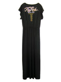 Kid Rock Skull Gold Foil Print Off Shoulder Goddess Maxi Dress Gown - IDILVICE Clothing - 4