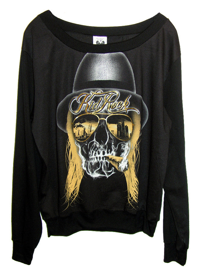 Kid Rock Desert Skull Gold Foil Slouchy Loose Sweater T-Shirt Top - IDILVICE Clothing - 1