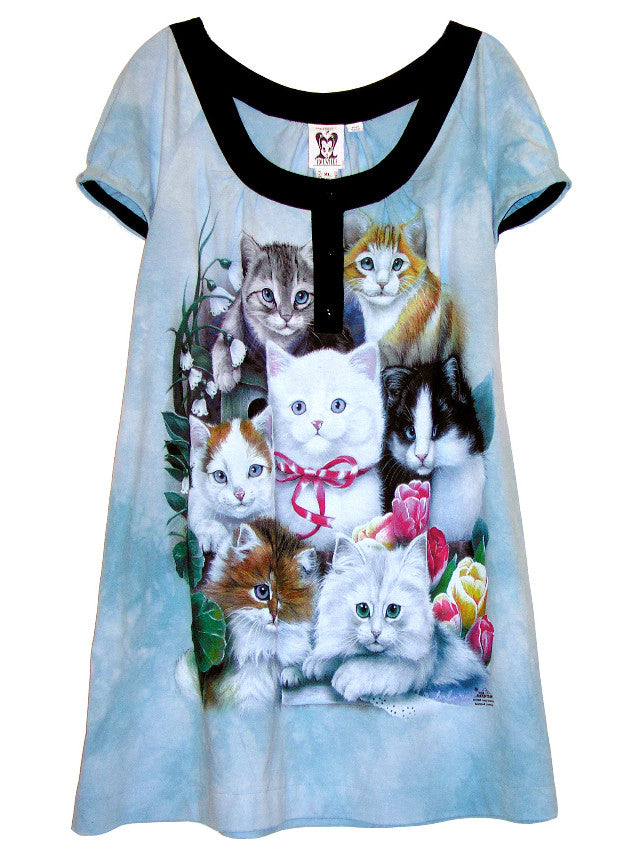 Kitten Cats Printed Tie Dye Tunic Dress - IDILVICE Clothing - 1