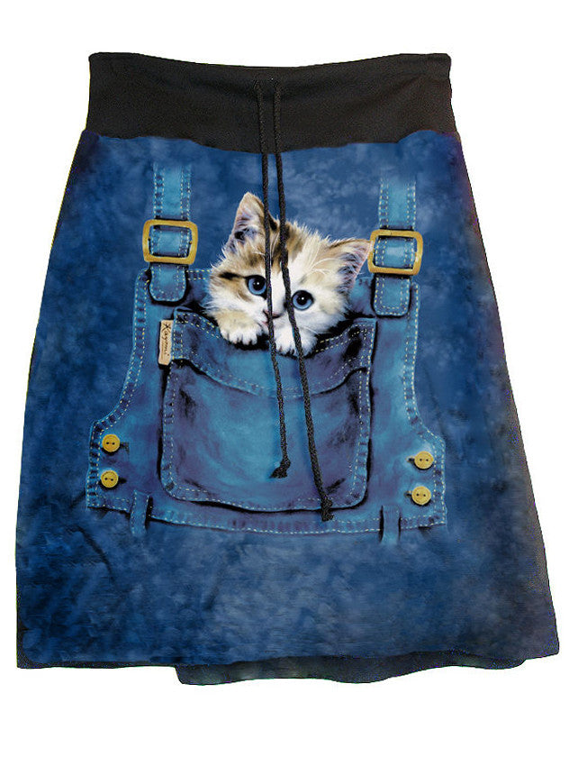 Kitty Cat In Pouch Tie Dye Hippie Aline Skirt - IDILVICE Clothing