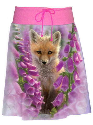 Baby Fox Foxglove Flower Buds A-Line Skirt