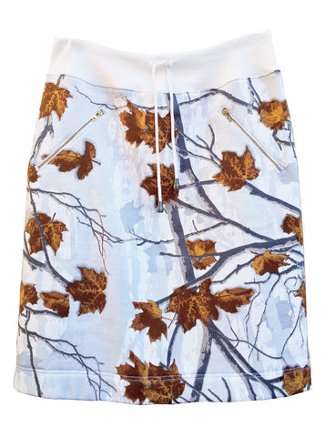 Oak Leaf Printed Pencil Sweatshirt Skirt