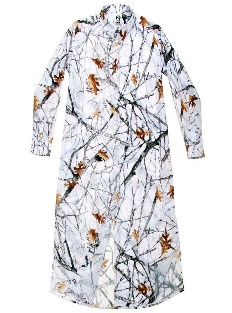 Oak Leaf Print Extra Long Button Down Shirt Dress - IDILVICE Clothing