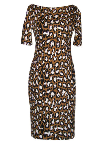 Leopard Animal Printed Sweatshirt Sheath Dress