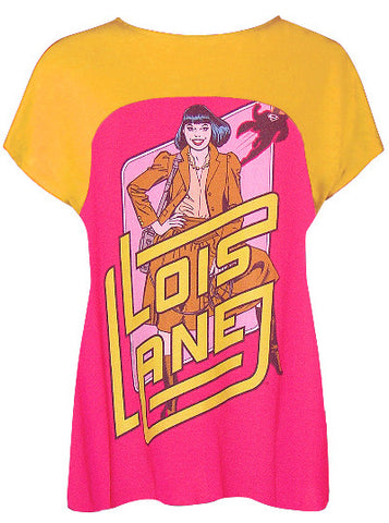 Lois Lane Superman Love Interest Pop Art Two Tone T-Shirt Top