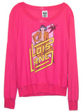 Lois Lane Superman Pink Loose Slouchy Bamboo L/S T-shirt Top