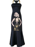 Marilyn Monroe Gold Foil Stretch Satin Maxi Dress Gown - IDILVICE Clothing - 1