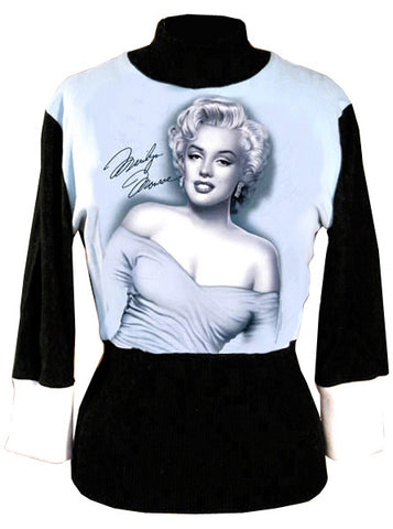 Marilyn Monroe Sexy Shoulders 3/4 Sleeve Mock Neck Sweater