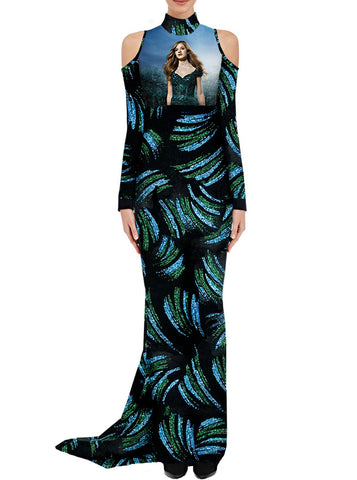 Glitter Velvet Jackie Evancho Misty Forest Red Carpet Maxi Dress